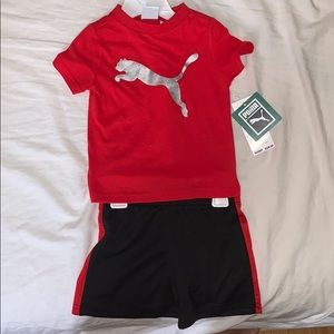 Puma baby boy outfit. Shirt and shorts